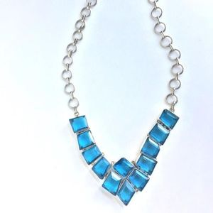 Jewelry - Blue Faceted glass/ Sterling Silver Necklace
